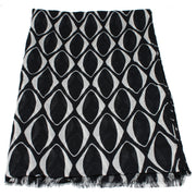 Echo Geometric Pattern Fringe Wrap Scarf- Black