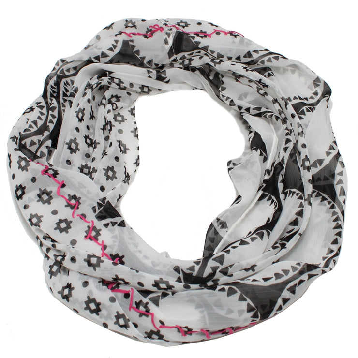 Echo Dual Print Loop Ring Scarf- Black