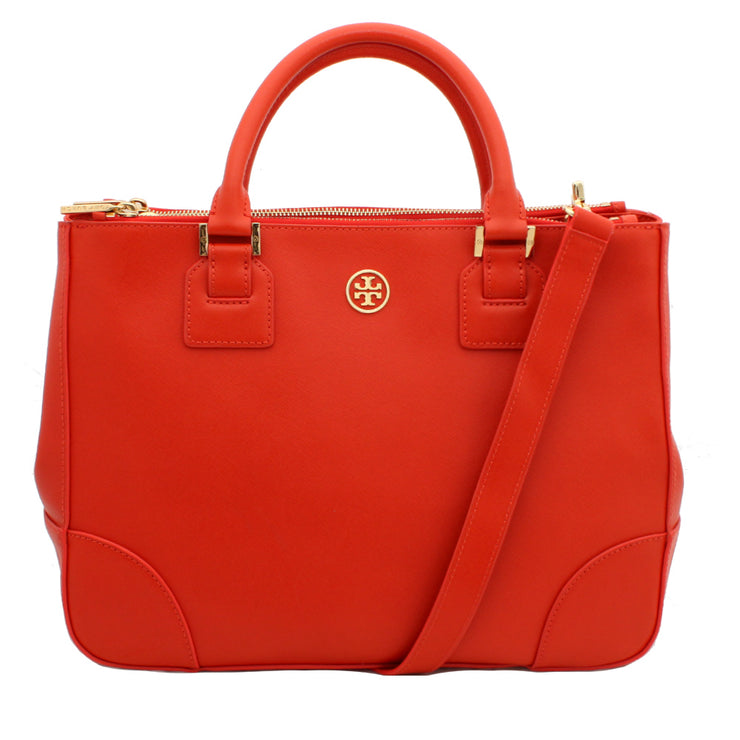 Tory Burch Robinson Double Zip Top Tote Bag- Wild Berry