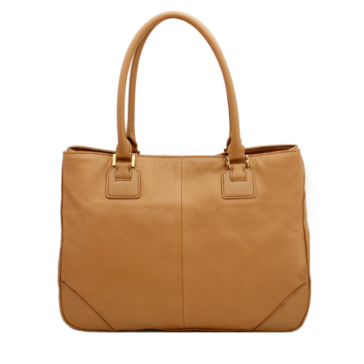 Tory Burch Robinson East West Leather Shoulder Tote- Sand