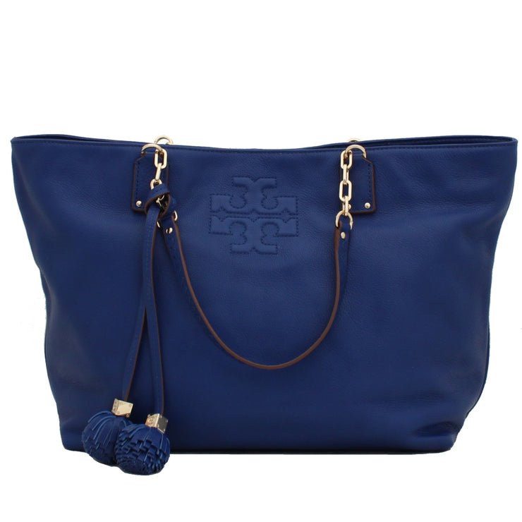 Tory Burch Thea Large Leather Tote Bag- Royal Ocean