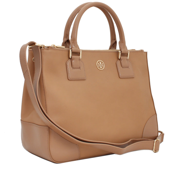 Tory Burch Robinson Double Zip Tote Bag- Sand
