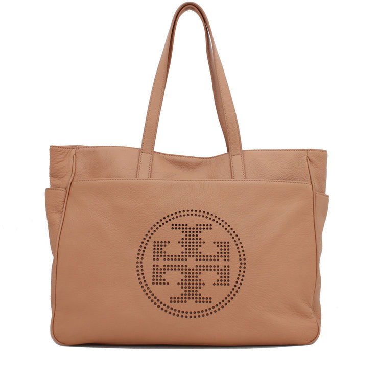 Tory Burch Perforated Logo East West Leather Tote Bag- Tumbleweed