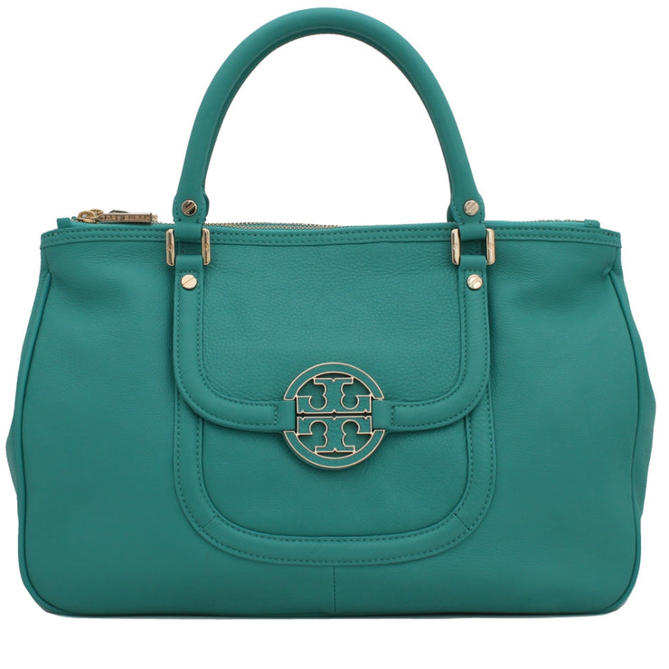 Tory Burch Amanda Double Zip Tote Bag- Turquoise