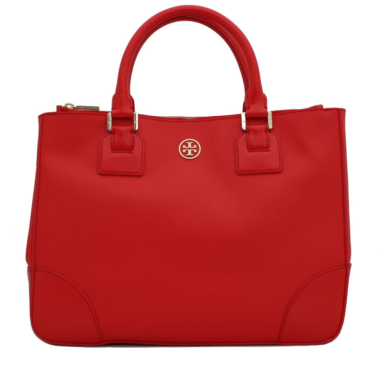 Tory Burch Robinson Double Zip Tote Bag- Poppy Red