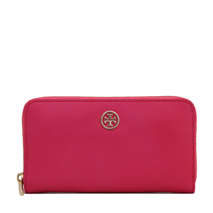 Tory Burch Robinson Zip Continental Wallet- Bougainville Pink