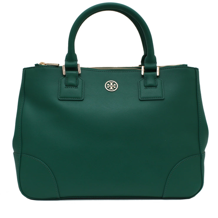 Tory Burch Robinson Double Zip Tote Bag- Malachite