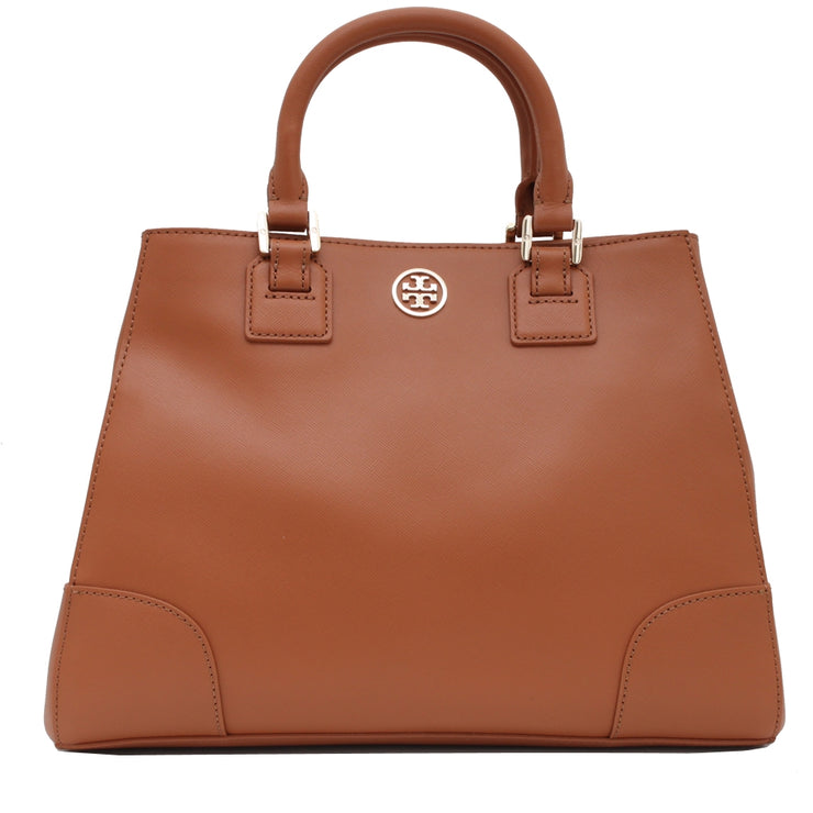 Tory Burch Robinson Triangle Tote Bag- Luggage