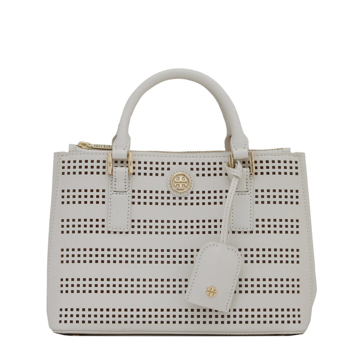 Tory Burch Robinson Perforated Micro Double Zip Tote Bag- Birch-Luggage