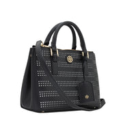 Tory Burch Robinson Perforated Micro Double Zip Tote Bag- Black-Birch