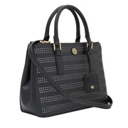 Tory Burch Robinson Perforated Mini Double Zip Tote Bag- Black-Birch