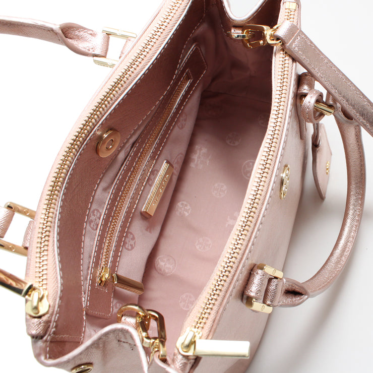 Tory Burch Robinson Metallic Micro Double-Zip Tote- Rose Gold