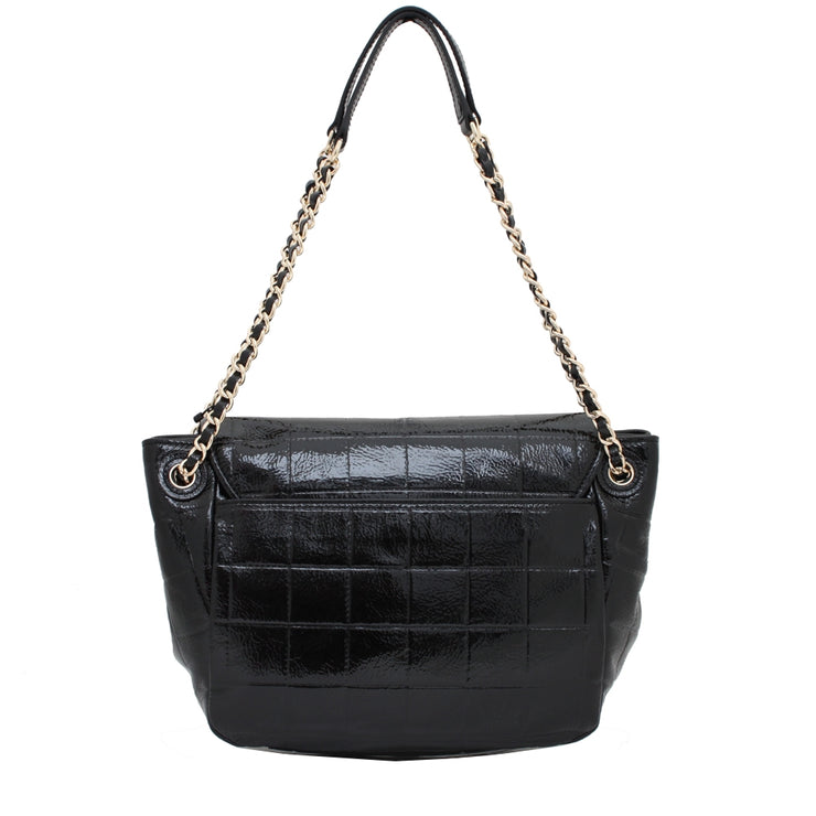 Tory Burch Marion Quilted Patent Leather Small Flap Shoulder Bag- Black