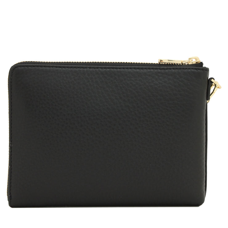 Tory Burch Landon Large Leather Wristlet Clutch- Bark
