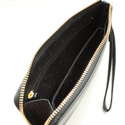 Tory Burch Landon Large Leather Wristlet Clutch- Black