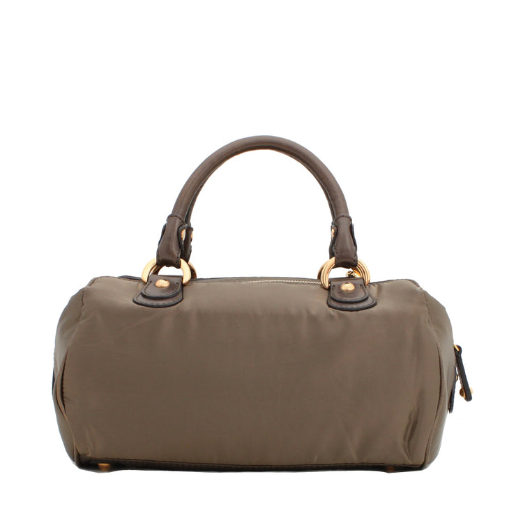 Tod's Nylon & Leather Top Handle Kate Bag- Golden Olive