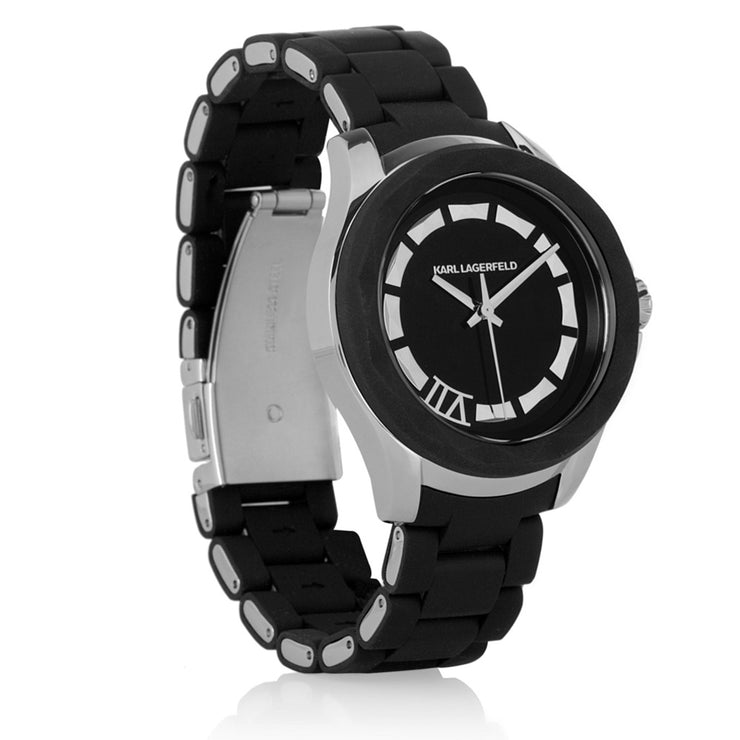 Karl Lagerfeld Unisex White Silicone Wrapped Stainless Steel Bracelet Watch