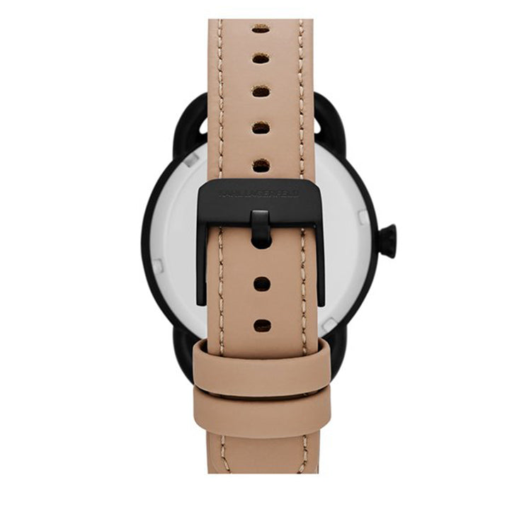 Karl Lagerfeld Watch KL2209- Karl Pop Black-Tone Studded Tan Leather Ladies Watch