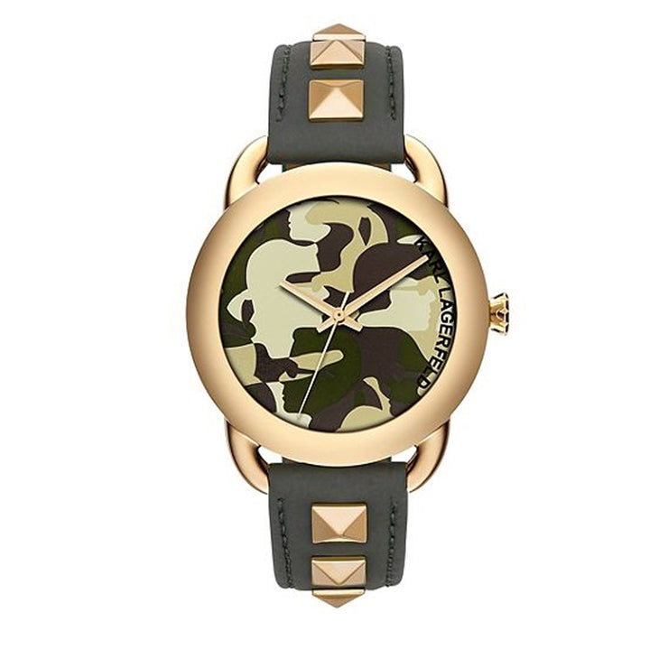 Karl Lagerfeld Watch KL2208- Karl Pop Gold-Tone Studded Green Leather Ladies Watch