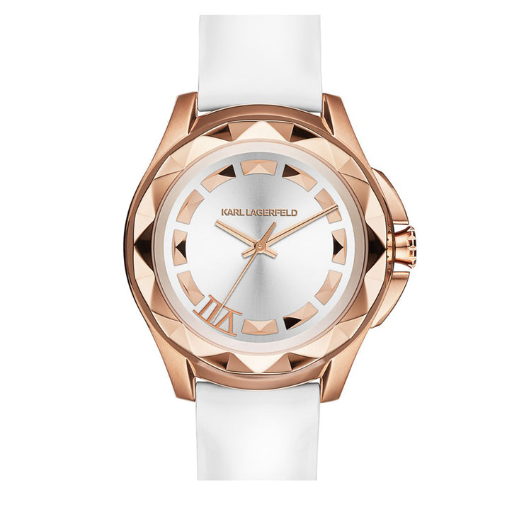 Karl Lagerfeld Watch KL1034- Karl 7 White Leather Faceted Rose-Gold Bezel Ladies Watch