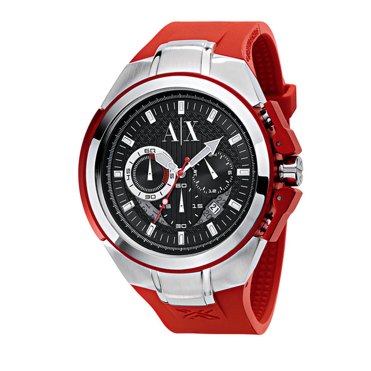 Armani Exchange Watch AX1040- Red Silicon Chronograph Men's Watch