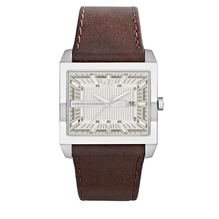 Armani Exchange Watch AX2204- Brown Leather Square Silver Dial Men Watch