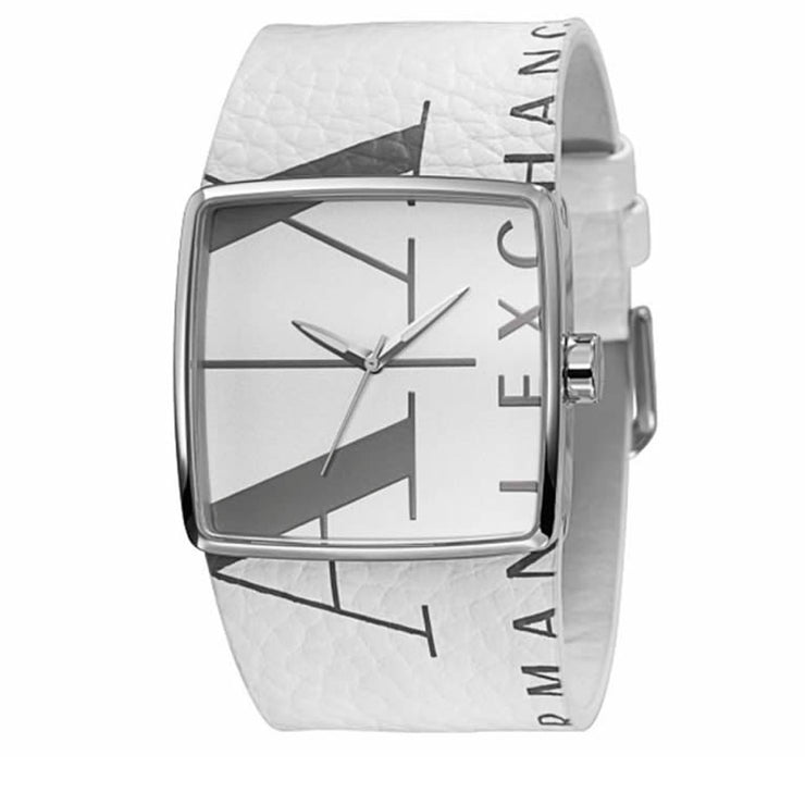 Armani Exchange Watch AX6000- White Leather Square Graphic Dial Men Watch