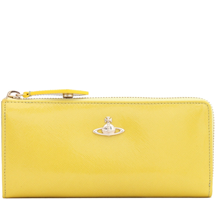 Vivienne Westwood Patent Saffiano Leather Long Zip Around Woman Wallet- Yellow