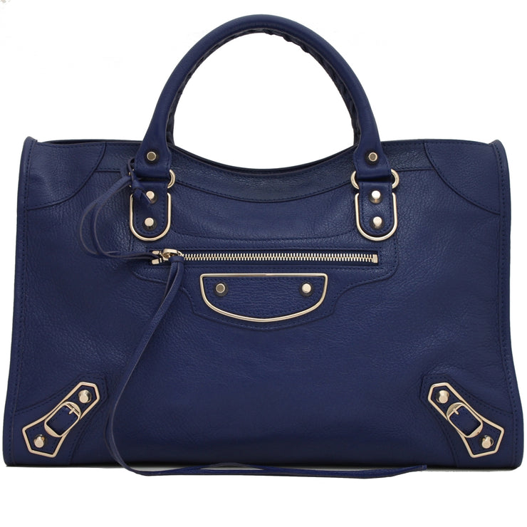 Balenciaga Classic Metallic Edge City Bag- Indigo Blue