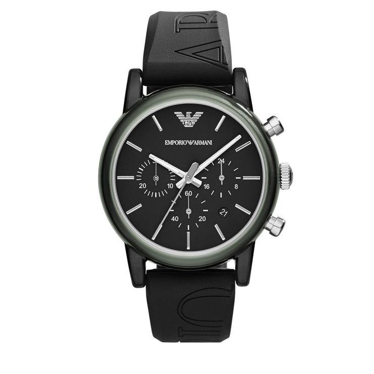 Emporio Armani  Watch AR1053-  Black Silicone Chronograph Men Watch