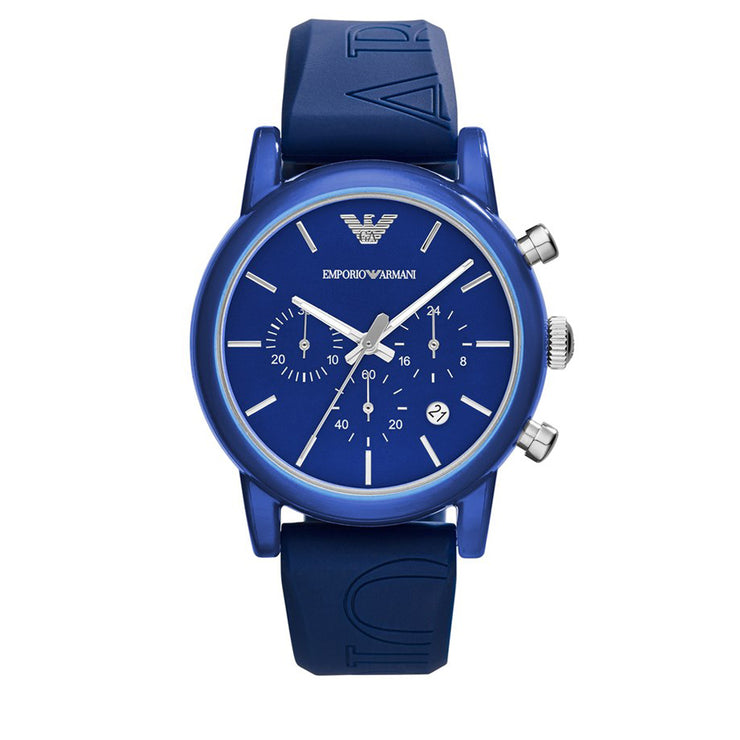 Emporio Armani  Watch AR1058-  Blue Silicone Chronograph Men Watch