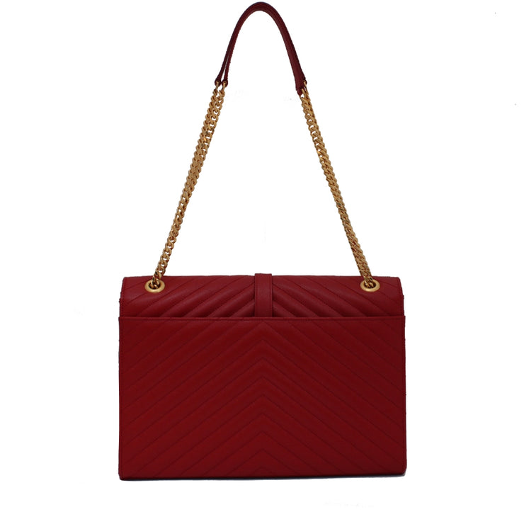 Saint Laurent Classic Large Monogram Textured Leather Satchel Bag- Lipstick Red