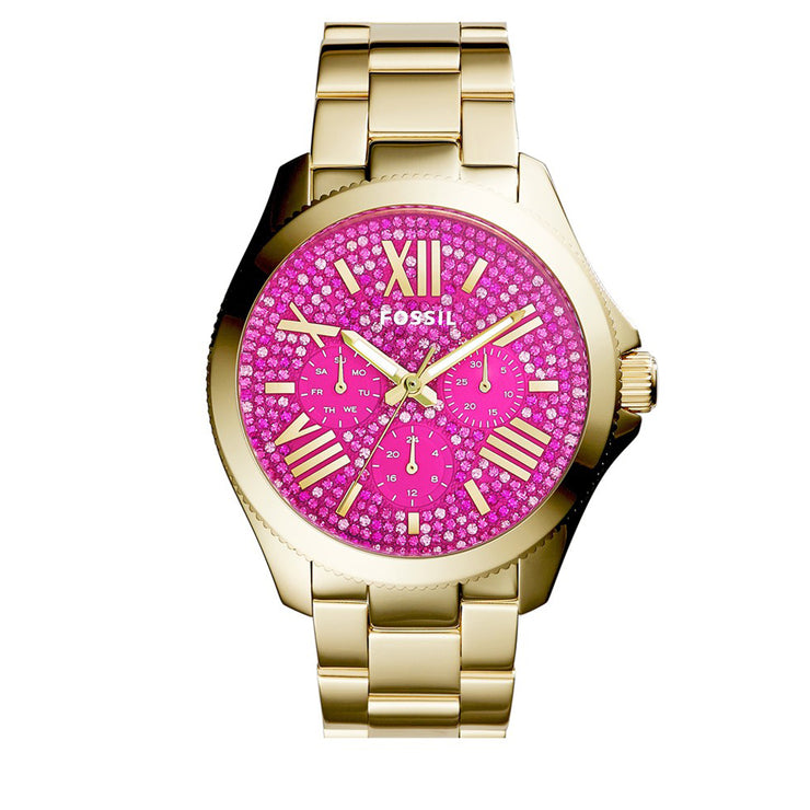 Fossil Watch AM4595- Cecile Multifunction Gold Stainless Steel Pink Glitz Dial Ladies Watch