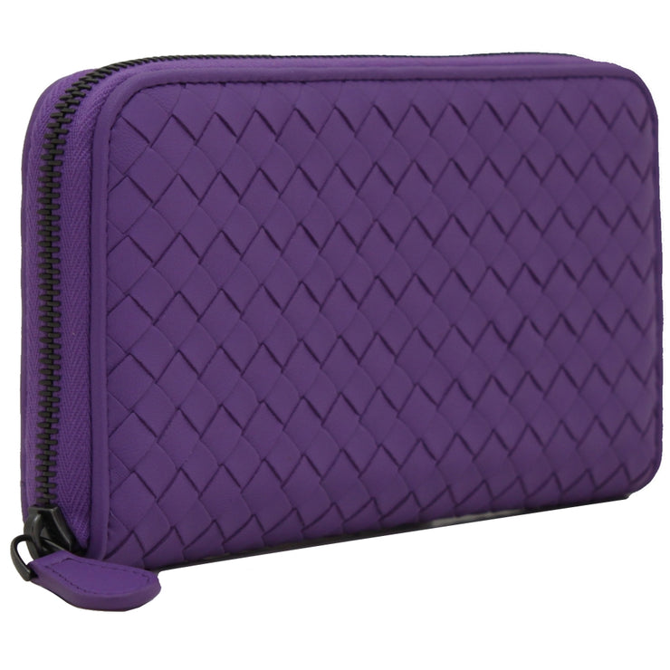 Bottega Veneta Intrecciato Nappa Continental Zip-Around Wallet- Byzantine