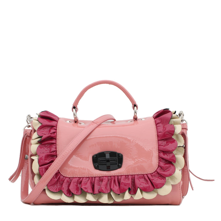 Miu Miu Convertible Patent Top Handle Bag with Flap