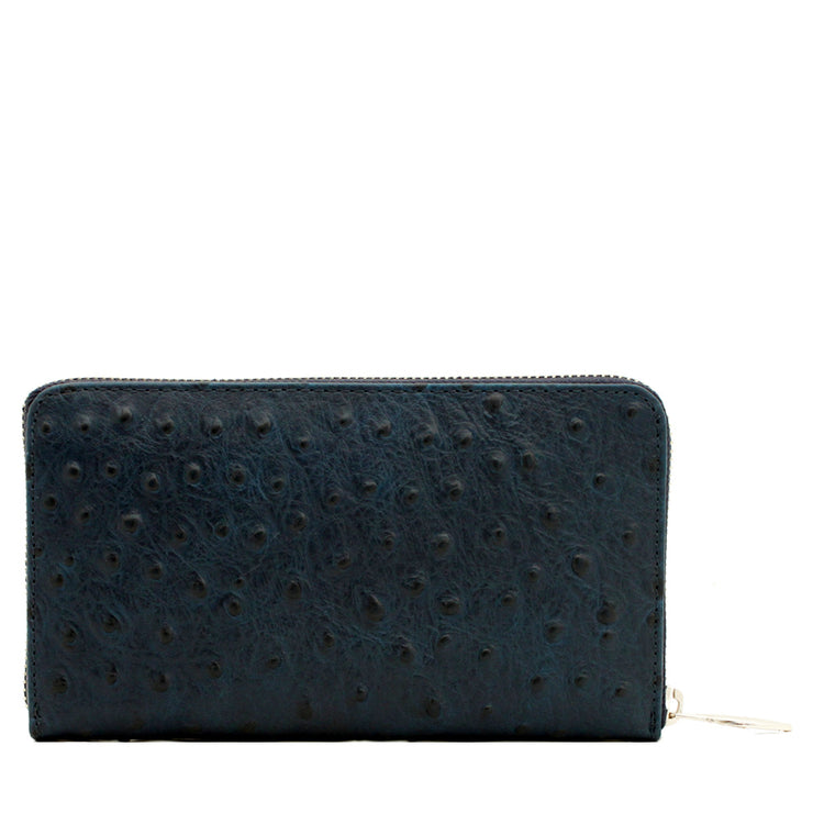 Ostrich Embossed Leather Zip Around Continental Wallet