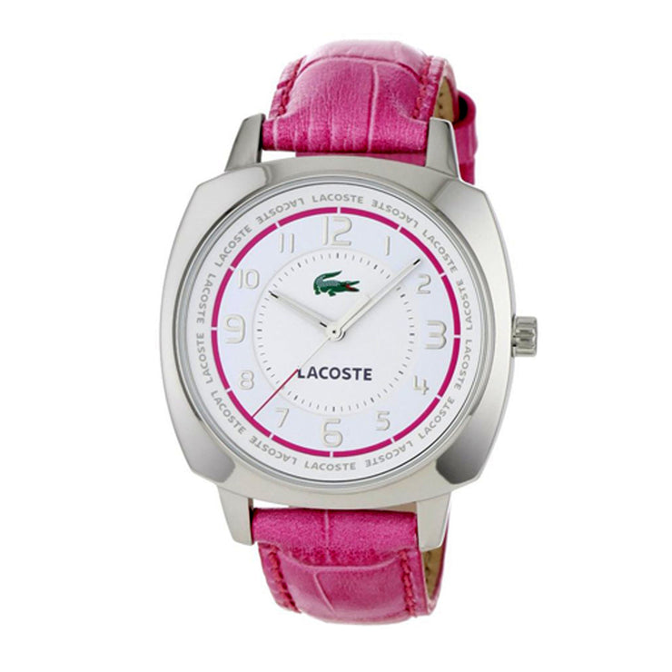 Ladies Pink Croc-Embossed Leather Watch w White Dial