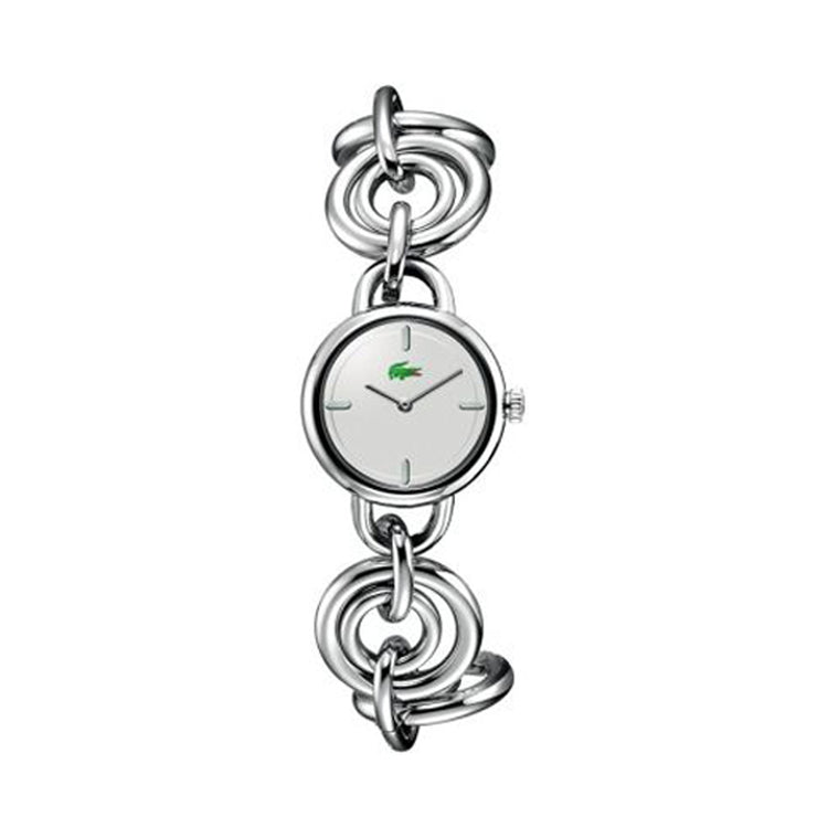 Lacoste Ladies Silver Chain Link Dress Watch w Silver Dial