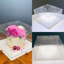 "Load image into Gallery viewer, See through square Cake Box/Cheesecake container-6.5""Height x 10.5""L x 10.5""W"