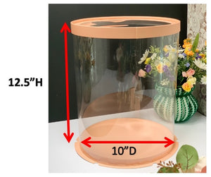"See through clear tall round Cake box- 10""Diameter x 12.5""Height"