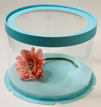 "Load image into Gallery viewer, See through clear round Cake box - 8.5""Diameter x 6.25""Height"