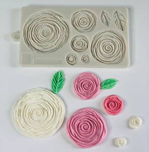 Big size 3D Rose Fondant Mold for Cake Decoration,Rosette Ruffle Impress