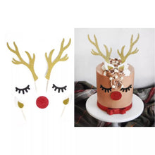 Load image into Gallery viewer, Reindeer cake topper set, Antler cake topper/ nose eyelashes, Christmas cake decoration, Rudolph gold holiday cake topper
