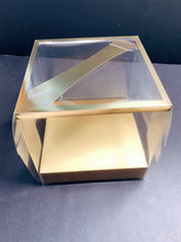 "Load image into Gallery viewer, 10 Gold Clear Mini Cake and Dessert Boxes with Handle-6""x6""x6"""