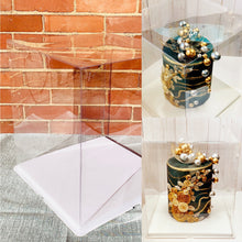 "Load image into Gallery viewer, Extra large and tall clear square Cake Box-16""Height x 14""L x 14""W, Big see through white cake box/big gift container"