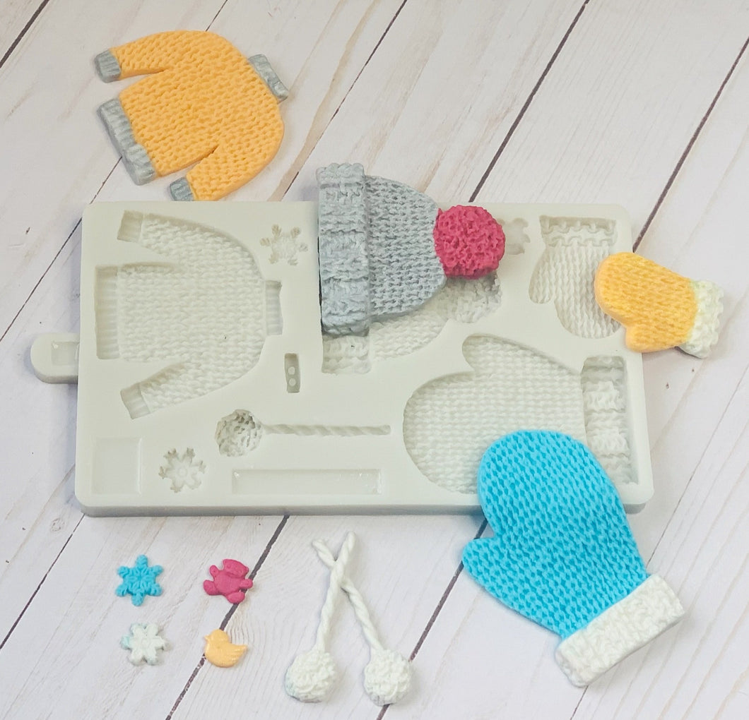 DIY Knitted Mitten/Hat/Sweater impress silicone mold