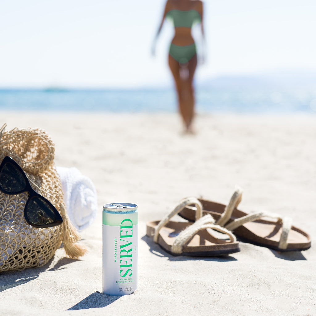 Hard Seltzer Served Drinks on the beach
