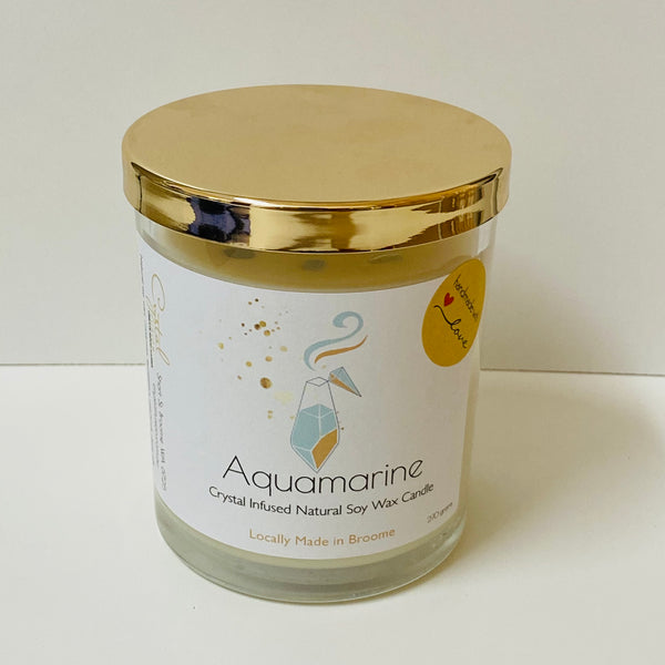 Aquamarine Natural Crystal Infused Soy Wax Candle - Calming - Reduce Stress - Peace
