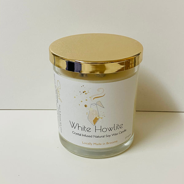 Howlite Natural Crystal Infused Soy Wax Candle - Calming - Sleep - Awareness