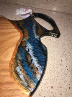 Charcuterie Serving Board Cheese Board Large Oak with Blue Copper White Black Epoxy Resin Handle